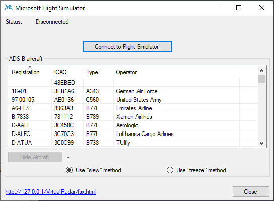 Microsoft Flight Simulator connection dialog